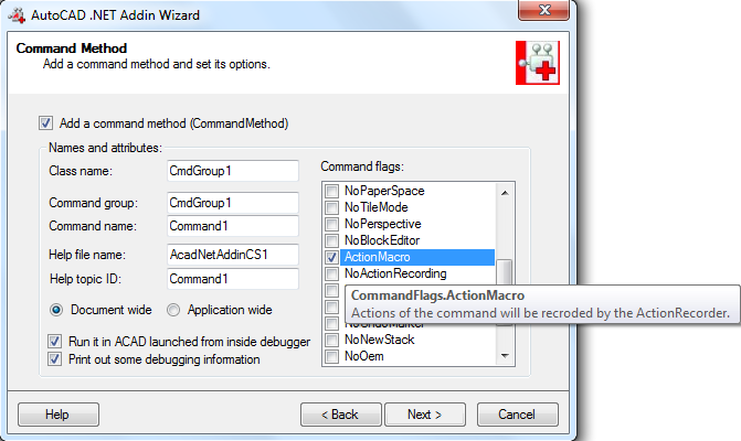 AutoCAD  NET Command Flag: CommandFlags ActionMacro vs