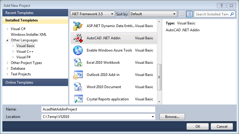 Create AutoCAD  NET VB NET Addin in Visual Studio 2010 Using